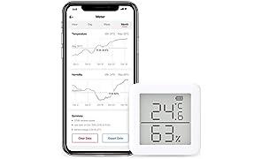 SwitchBot - Termómetro higrómetro Compatible con Alexa, iPhone, Android - Sensor inalámbrico de Temperatura y Humedad con alertas