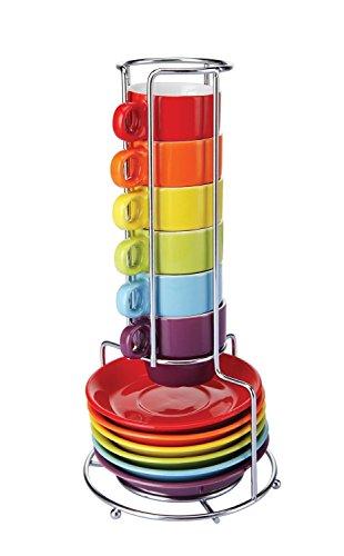 Zodiak CN341 Tasses à café espresso avec soucoupes empilables et leur support tour Rainbow Set de 6 assorties Multicolore Céramique et métal D11,5 x H30,5 cm