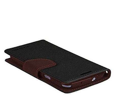 CHL Mercury Fancy Wallet Dairy Flip Case Cover for Micromax Juice 2 AQ5001 - Black Brown
