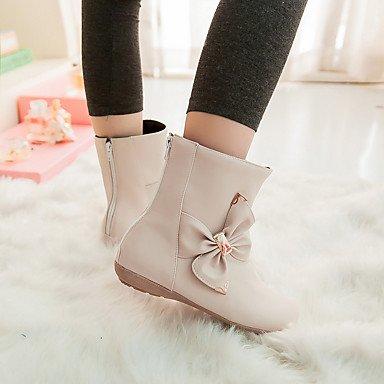 Les bottes pour le confort d'hiver robe en simili cuir Talon bas occasionnels Bowknot Zipper White