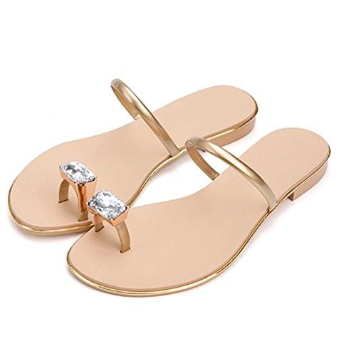 PENGFEI sandali delle donne Pantofole Watermains Sandali piatti Pantofole da spiaggia estate Sandali antiscivolo dolce donna flip flops Confortevole e traspirante ( Colore : Bianca , dimensioni : EU39 Oro