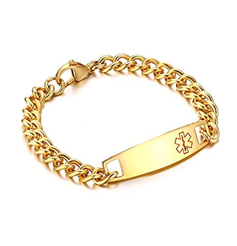 Vnox Men's Customized Stainless Steel Medical Alert ID Bracelet Cuban Chain Identification Chain Wristband Gold