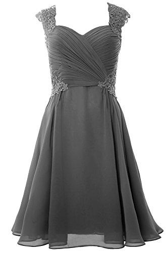 MACloth Women Cap Sleeve Cocktail Dress 2017 Short Wedding Party Formal Gown Grau