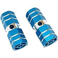 """Une Paire de vélo en alliage d\'aluminium 3/8 """"essieu Sexangle Cylindre de repose-pieds Pegs-Bleu"""