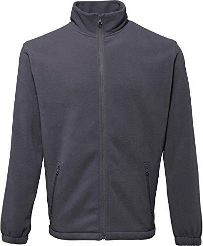 2786Herren Oberbekleidung Warm Winter Coat 2Paket Cadet Kragen Full Zip Fleece Jacke Schwarz - Dunkelgrau