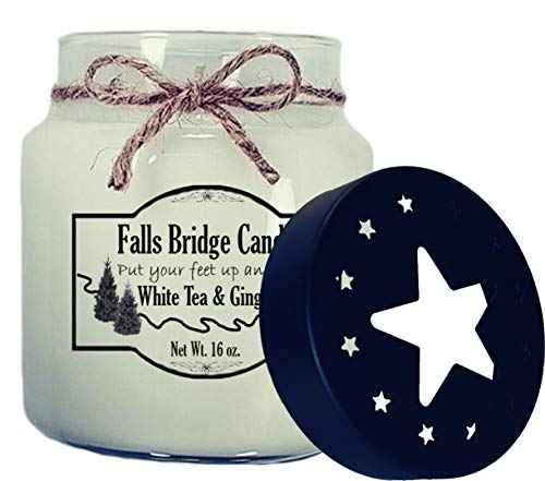 Falls Bridge Candles White Tea & Ginger Scented Jar Candle, 16-Ounce, w/Star Lid Floral Ginger Jar