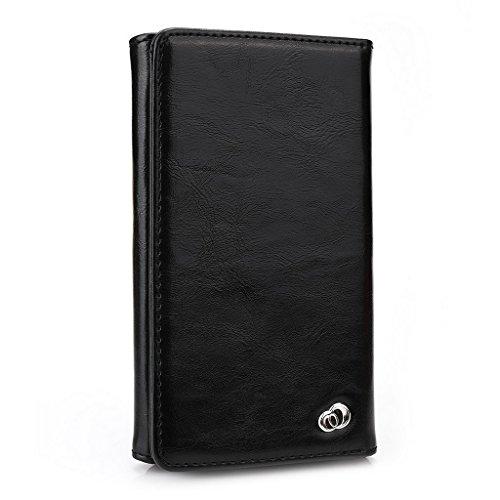 Kroo Portefeuille unisexe avec protection d'écran haute qualité pour Gionee Elife S5.5/Ctrl v6l ajustement universel différentes couleurs disponibles avec affichage écran Gris - gris noir - noir