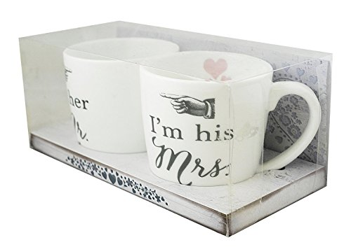 Two Up Two Down Tassenset Mr & Mrs (mit Text in englischer Sprache), in Geschenkverpackung