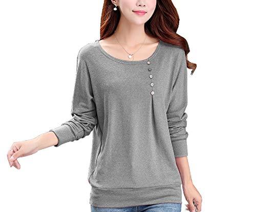FreshTrend Cotton Grey Melange Full Sleeve Round Neck Tshirt for Women (Grey; Medium)
