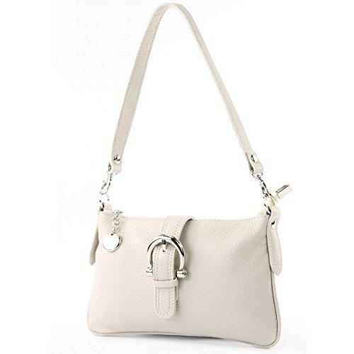 Creme Leder Handtasche (modamoda de - T05 - ital City-/Umhängetasche Klein aus Leder, Farbe:Creme)