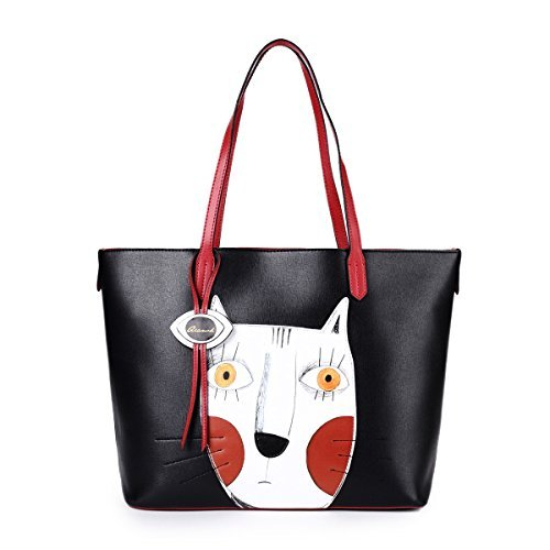 Shopper Handtasche Damen Katze Tasche Groß Kunstleder Schultertasche Henkeltasche Tote Bag für Frauen Schwarz (Der Aus Tote Schulter)