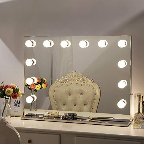 Chende Rahmenlos Schminkspiegel mit Beleuchtung Bühne Kosmetikspiegel, Schönheit Theaterspiegel groß, LED beleuchtet schminktisch Spiegel, Freie Glühbirnen (8065, Rahmenlos)