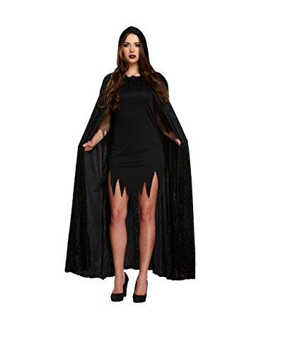 Kostüm Velvet Devil Cape (Schwarz) (Schwarzes Vampir Kostüm)