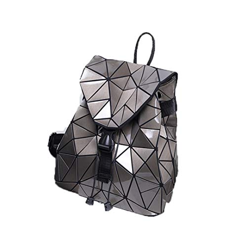 Frauen Rucksack Luminous Geometric Plaid Pailletten Weibliche Rucksäcke Für Mädchen Im Teenageralter Tasche Pack Kordelzug Holographische Rucksack Brown - Braun Large Rolling Luggage