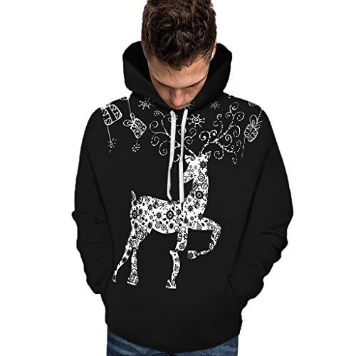 Aoogo Unisex Weihnachten Hoodie Christmas Weihnachtsmann Gedruckt Große Größen Pulli Sweatshirt Herbst Winter Warme Kapuzenpullover Weihnachtspullover