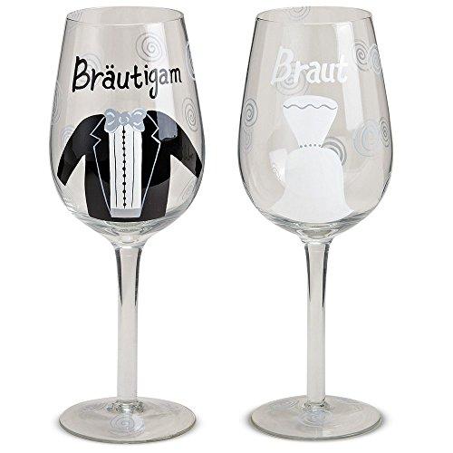 matches21 Braut & Bräutigam Weingläser/Cocktailgläser 2-tlg. Set für Hochzeit Frau & Mann...