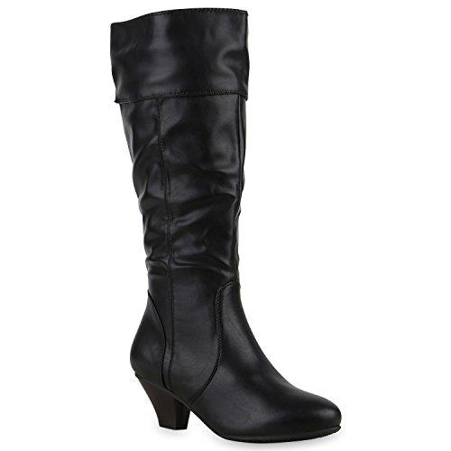 Damen Klassische Stiefel Boots Holzoptik Absatz Basic Booties Leder-Optik Trichterabsatz Schuhe 128082 Schwarz 38 | (Damen Stiefel Sale)