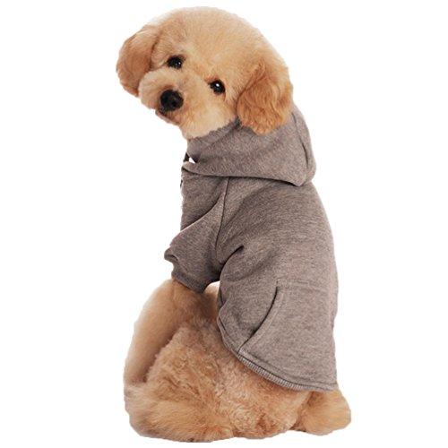 YiJee Kleine Hunde Winter Hoodie Pullover Haustier Pure Farbe Sweatshirts Grau M