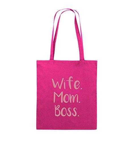 Buste Comiche - Moglie Mom Boss - Borsa In Juta - Manico Lungo - 38x42cm - Colore: Nero / Argento Rosa / Rosa