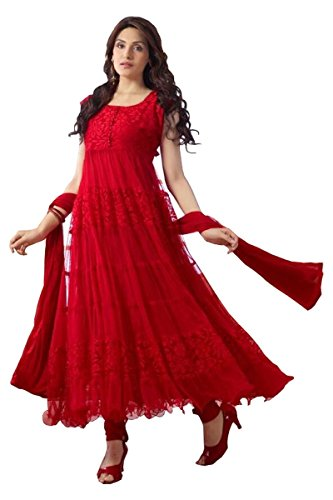 Prilora Traditional Red Color Party Wear Net Anarkali Salwar Suit for Women Stitched  available at amazon for Rs.199