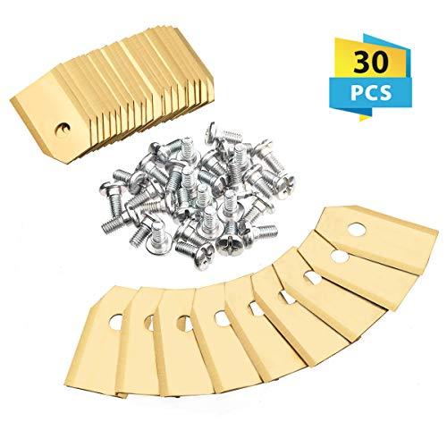 Charminer 30 Stück Titan Messer Klingen Ersatzmesser geeignet für alle Husqvarna® Automower® / Gardena® Mähroboter-(3g-0,75mm)+ 30 Schrauben-passen für 105, 310, 315, 320, 420, 430x, r40i uvm