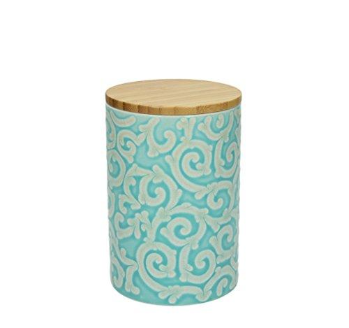 950 ml., 15 cm hoch, Keramik, türkis-weiß, wundervoll gearbeitete Ornamente mit erhabenener Struktur von TOGNANA ()
