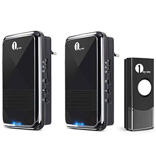 1byone Wireless Doorbell, Easy Chime Kit Sonnette sans Fil Noir, 2 Récepteur Alimenté et 1 Bouton Bouton Poussoir Etanche et Transmetteur
