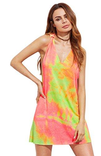 ROMWE Damen Tie-Dye Strandkleid V Ausschnitt Regenbogen Farbstoff mit Knotendetails Ärmellos Sommerkleid Trägerkleid Grün Bunt