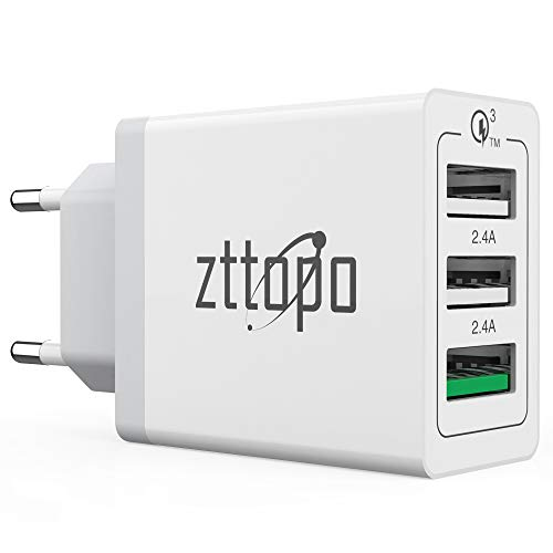 USB Ladegerät, QC 3.0 Schnelle Ladefunktion 3-Port 3A Ladeadapter, Netzteile Smart Lade für Handy, iPad, Mp3 und Wireless Ladegerät