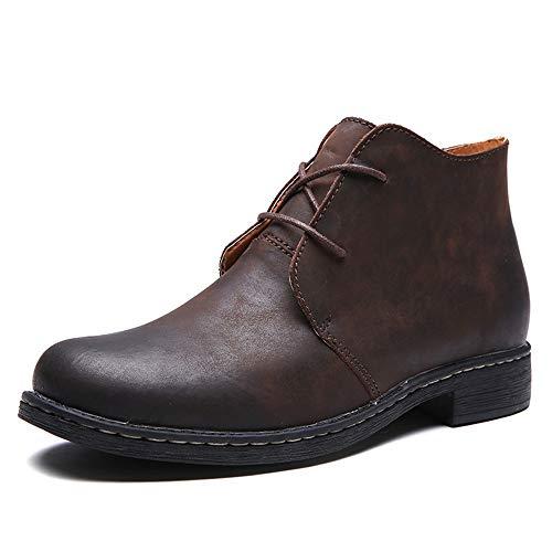 Ziehen Leder Stiefel (Shengjuanfeng Chukka-Stiefel für Herren-Knöchelschuhe Ziehen Sie aus echtem Leder an und schnüren Sie Outdoor-Outdoor-Wanderschuhe (Color : Braun, Größe : 43 EU))
