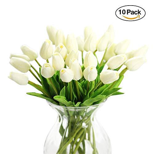 10 tulipani finti, fiori artificiali in lattice, realistici al tatto, per bouquet per matrimoni, casa, giardino, decorazione, bianco, taglia libera