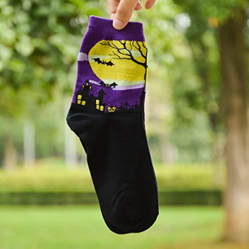 Kingus Halloween Chaussette Motif Dessin animé en Bas Multicolores Chaussettes en Coton Chaussettes de Mode personnalité Halloween Accessoires, Coton, Violet, As The Description
