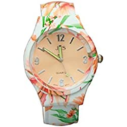 Ladies Floral Pattern Orange & Green Beautiful Round Face Bracelet Bangle Watch With Extra Battery