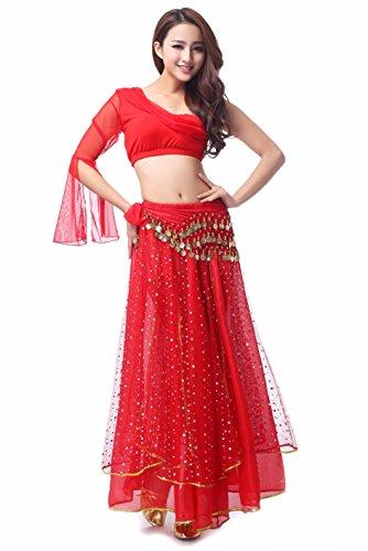 Dance Damen Kostüm - MBW Belly Dance Bauchtanz Kostüm Damen Komplett Set 5 tlg rot Hüfttuch 128 goldfarbenen Münzen, 34 -38, Rot