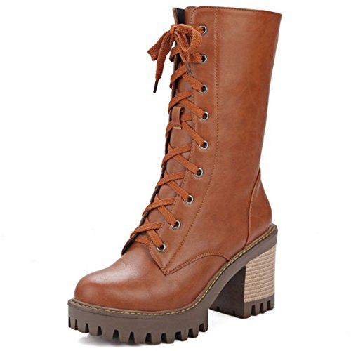 COOLCEPT Damen Mode-Event Hoher Absatzen Schuhe Schnürung Mitte der Wade Blockabsat Stiefel Gelb