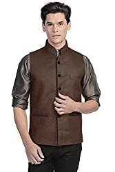 Vastraa Fusion Mens Blended Bandhgala Dark Brown Nehru Jacket / Waistcoat
