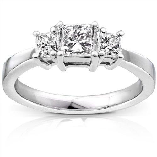 Diamant three-stone Engagement Ring 1Karat (ctw) in 14K Weiß Gold _ 10,5