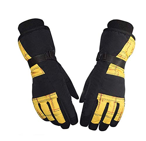 ZHJBD Schutzausrüstung/rutschfeste, verschleißfeste Plus Velvet Outdoor-Reithandschuhe Winter-Skihandschuhe (Color : Yellow)