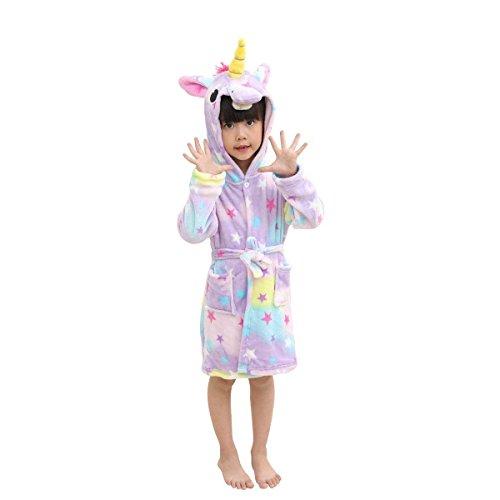 BBWAY Weicher Bademantel Für Kinder Einhorn Fleece Mit Kapuze Nachtwäsche Robe Luxuriöser Morgenmantel Warm Bequeme Nachtwäsche Süße Loungewear Hausmantel 120