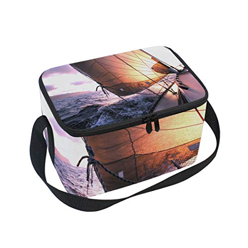 Bolsa de almuerzo, barco de vela, paisaje, mar, olas de sol, enfriador...