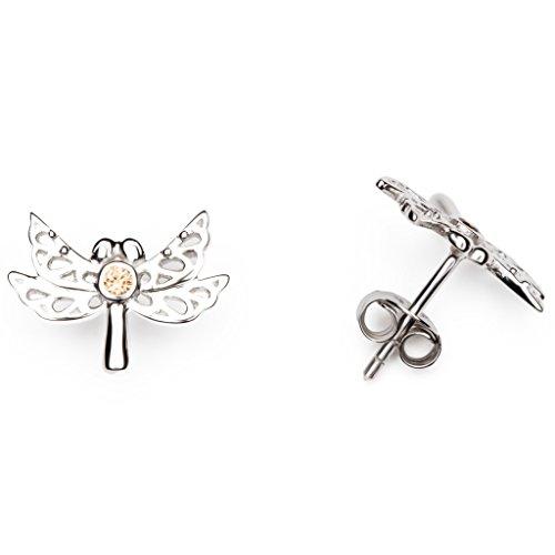 GOOIX Ohrringe 937-06494 Damen Ohrstecker Libelle Sterling-Silber 925 Silber Braun Zirkonia