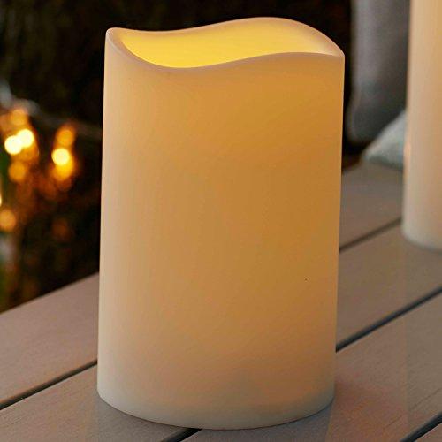 2er Set LED Außenkerze Gartendeko mit Zeitschaltuhr 17,5cm Batteriebetrieb Lights4fun