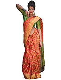 Salwar Studio Women's Coral Red & Green Patola Silk Printed Saree With Blouse Piece(OM-0031675_Red_Free Size)