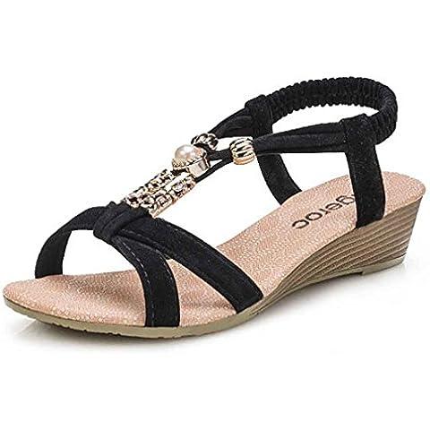 Calzado de mujer,Amlaiworld Peep-toe sandalias de la hebilla plana romanos