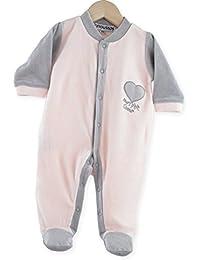 """Kinousses Grenouillères Pyjama bébé fille velours """"mon p'tit Coeur"""" Rose"""