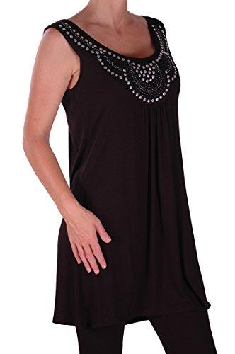 Eyecatch Plus - Haut sans manche droit clous - Evie - Femme Noir