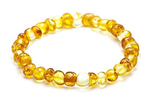 Bernsteinarmband Damen - Baltische Bernstein Perlen der höchsten Qualität mit Echtheits-Zertifikat - AUF GUMMIBAND - Zitrone - Länge 20cm / 2LH.P-BRQ