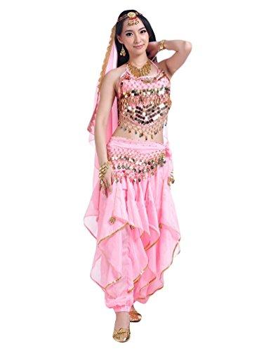 YiJee Damen Bauchtanz Kostüme Ein Sechs-Stück Set Pink (Kostüme Größentabelle)