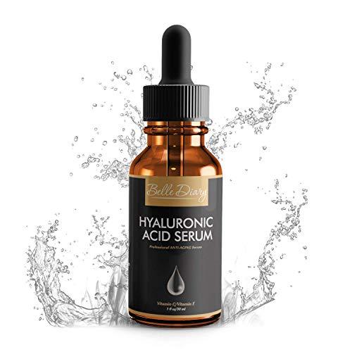 Serum de Ácido Hialurónico 1oz - Crema Orgánica Hidratante Facial Antienvejecimiento con Vitamina C y Vitamina E para Piel Seca, Líneas Finas y Arrugas