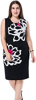 Chicwe Vestido tallas grandes de las mujeres forrado Colocación del Estampado floral sin mangas EU44-60